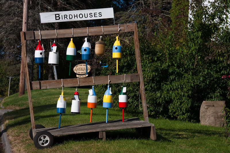 Lobster Buoy bird houses on Cape Elizabeth in Maine.
