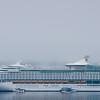 Cruise ship in fog at Bar Harbor, Maine, located on Mount Desert Island.