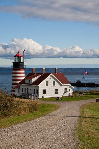West Quoddy Lighthouse at Lubec, Maine, built in 1808 (and replaced in 1831 and again in 1858)  at the entrance to Passamaquoddy Bay, marks the easternmost  point in the contiguous continental USA. One of the most attractive of US lighthouses, it was automated in 1988 and is now owned by the Maine Bureau of Parks and is managed under the Maine Lights Program.