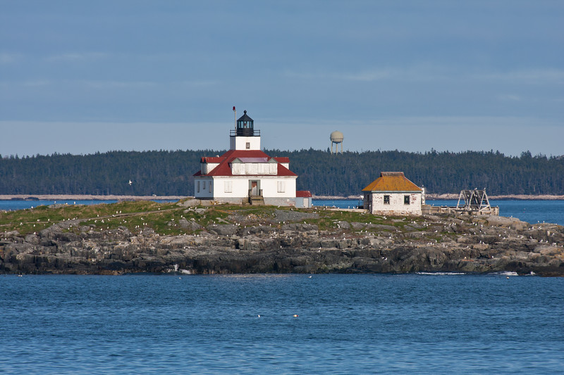 Egg Rock Lighthouse on Egg Rock Island at the entrance to Frenchman's Bay, near Winter Harbor and also Bar Harbor, Maine. Built in 1875, this lighthouse is now automated but it still an active aid to navigation.