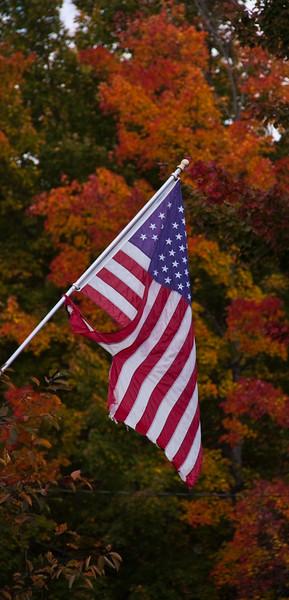 US Flag amid brilliant autumn colors in northeast Maine.