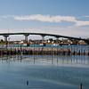FDR Memorial Bridge between Lubec, Maine and Campobello Island in New Brunswick, Canada. The narrow channel between Lubec, Maine, a fishing village, and Campobello Island is an international border.