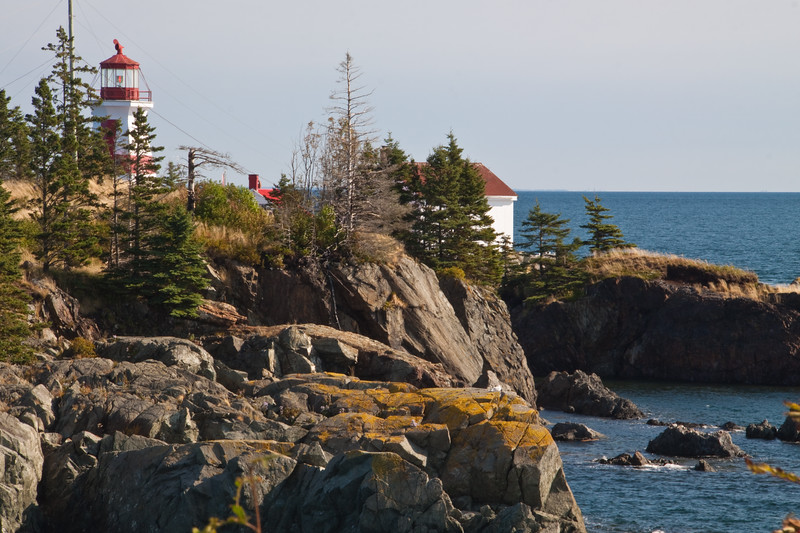 """East Quoddy Head Lighthouse, at the northernmost tip of Campobello Island, New Brunswick, Canada, was built in 1829 to assist in navigation for the treacherous Bay of Fundy. It is located on a small """"quasi-island"""" (off the tip of Campobello) that is only accessible at low tide."""