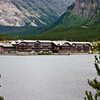 Many Glacier Lodge on Swiftcurrent Lake in Many Glacier valley area of Glacier National Park in Montana.