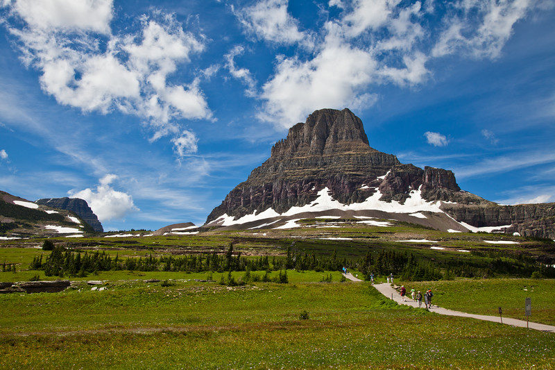 Clements Mountain at Logan Pass in Glacier National Park in Montana. This scene is among the signature images of Glacier NP.