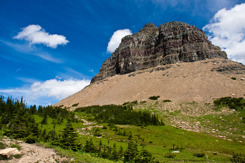 Logan's Pass Vistor Center area  on Going to the Sun Road in Glacier National Park in Montana.