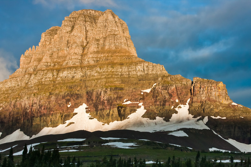 Clements Mountain in early morning sunlight, at Logan Pass in Glacier National Park in Montana.