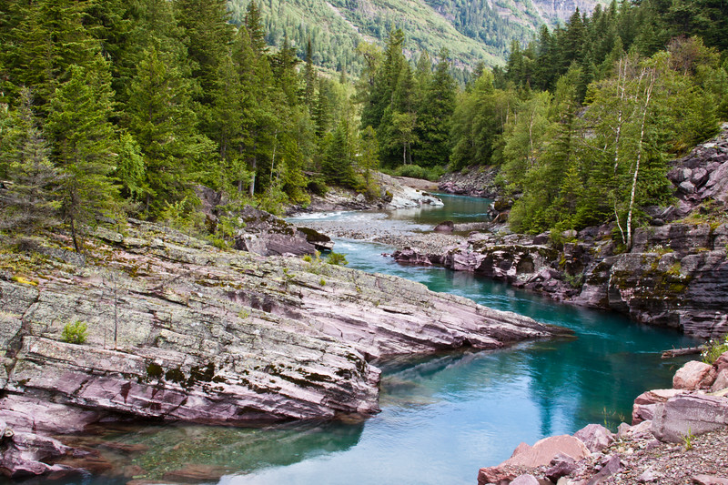 Rapids and rocks on Avalanche Creek in Glacier National Park in Montana.