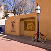 Bicycle on street in Santa Fe, oldest city and capital city of New Mexico. Santa fe was founded as a capital city in 1610, making it the oldest capital city in the United States.