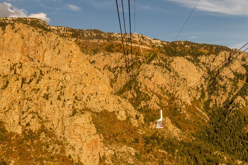 Sandia Peak Aerial Tramway at Sandia Peak in the Cibola National Forest at Albuquerque, New Mexico.