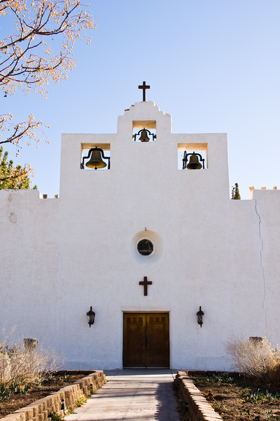 Early morning light at St. Francis de Paula Franciscan Mission Church in Tularosa, New Mexico (founded 1865).