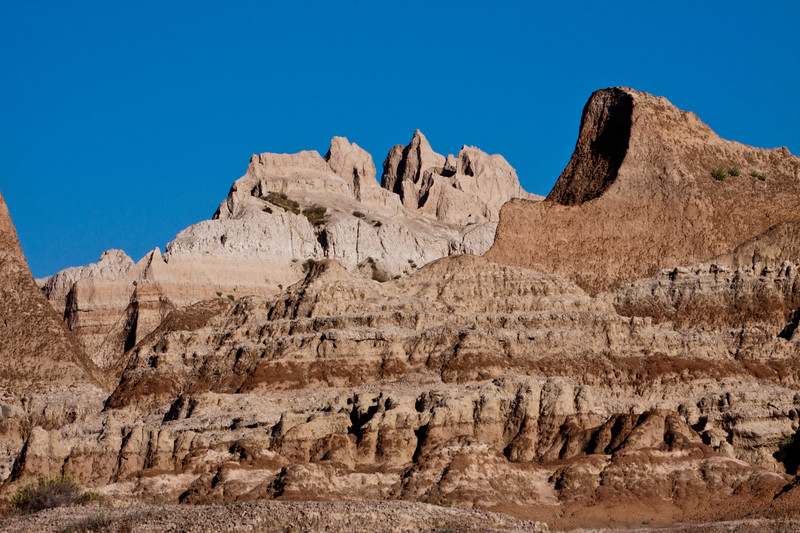 Mountains and Rock Formations in early morning light at Badlands National Park in South Dakota.