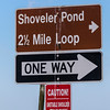 Directions signs for Shoverler Pond at Anahuac National Wildlife Refuge in Southeastern Texas.