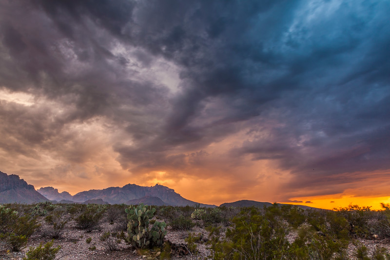 Thuderstorm clouds over Chisos Mountains in Big Bend National Park.