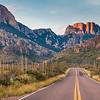 Chisos Basin Road just after sunrise in Big Bend National Park.