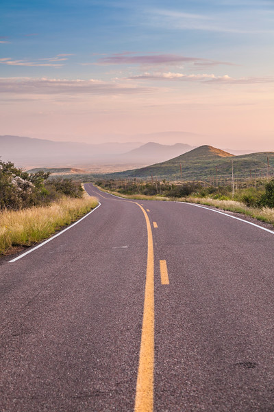 Chisos Basin Road in early morning light in Big Bend National Park.