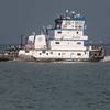 Tugboat in Aransas Bay near Port Aransas, Texas.