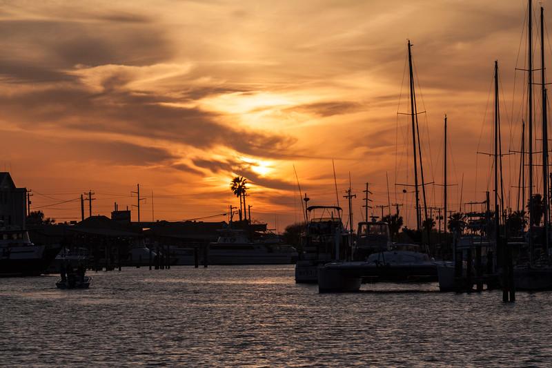 Sunset at Port Aransas Harbor, Port Aransas, Texas.