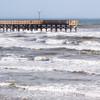 Fishing Pier on windy day at Galveston, Texas.