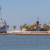 USS Stewart WWII destroyer escort ship (one of only 3 remainingin the world) at Seawolf Park on Pelican Island in Galveston, Texas.