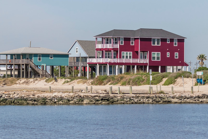 Beach house on stilts on Bolivar Peninsula at North Jetty.