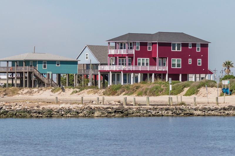 Beach house on stilts on Bolivar Peninsula at North Jetty.