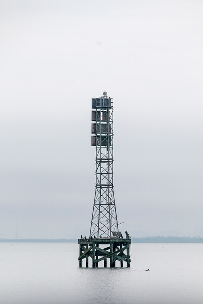 Fog horn and boating hazards warning tower at Texas City Dike.