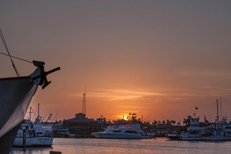 Sunrise at Port Aransas Harbor.