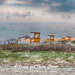 Empty lifeguard stations on Galveston East Beach.