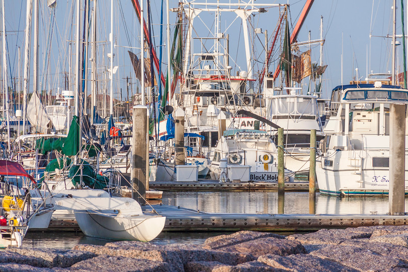 Port Aransas harbor and fishing village in Port Aransas, Texas.