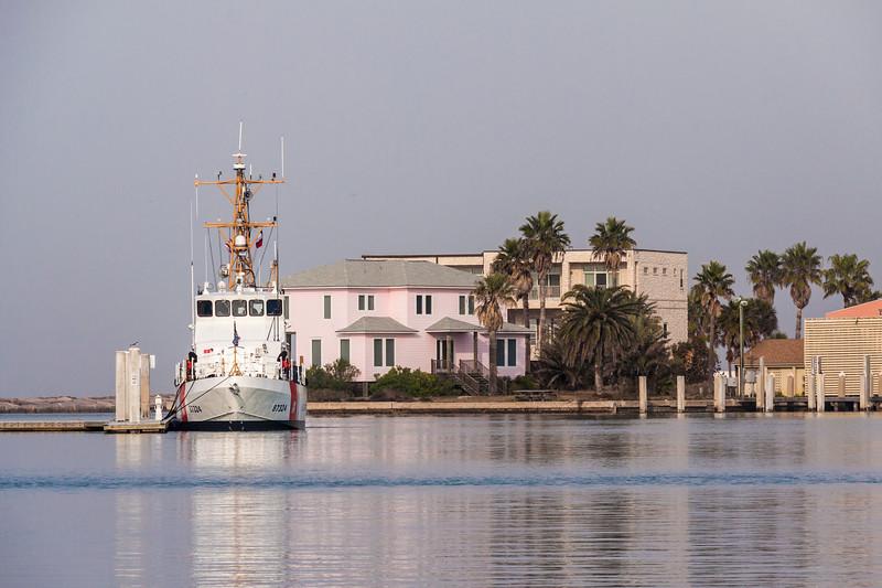 Coast Guard vessel in harbor at Port Aransas, Texas.