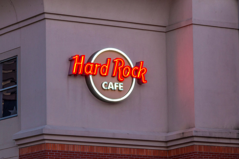 Neon sign on Hard Rock Cafe building