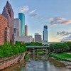 Buffalo Bayou by the Wortham Center in downtown Houston