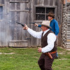 """Gunfight tourist show at Burnet, Texas, a featured attraction for tourists riding the """"Hill Country Flyer"""" tourist train from Cedar Park, Texas to Burnet, Texas and back. The Austin Steam Train Association offers this and other train rides."""