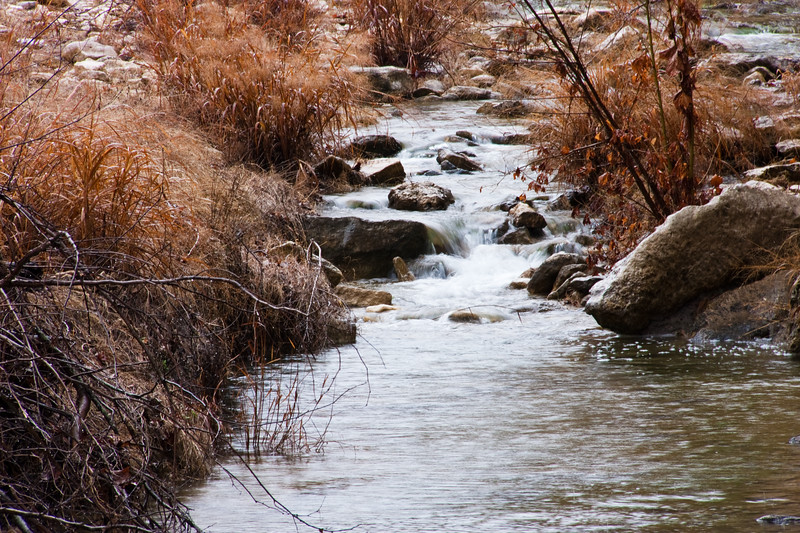 Rainy day on Block Creek - at Block Creek Natural Area, a coalition of conservation oriented ranchers in Central Texas.
