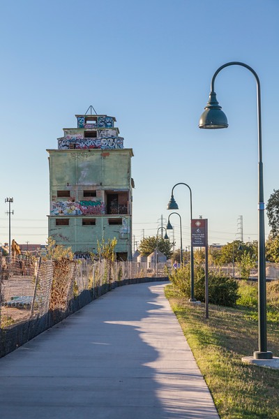 Abandoned Grain Silos at Big Tex Grain Site in San Antonio. Cleared by the EPA for re-development and mixed use renovation, these silos will be renovated as part of a mixed use complex of art galleries, restaurants, etc. near the existing Blue Star Arts complex.