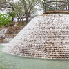 Beautiful waterfalls and rock gardens at the Tower of the Americas in HemisFair park in San Antonio.