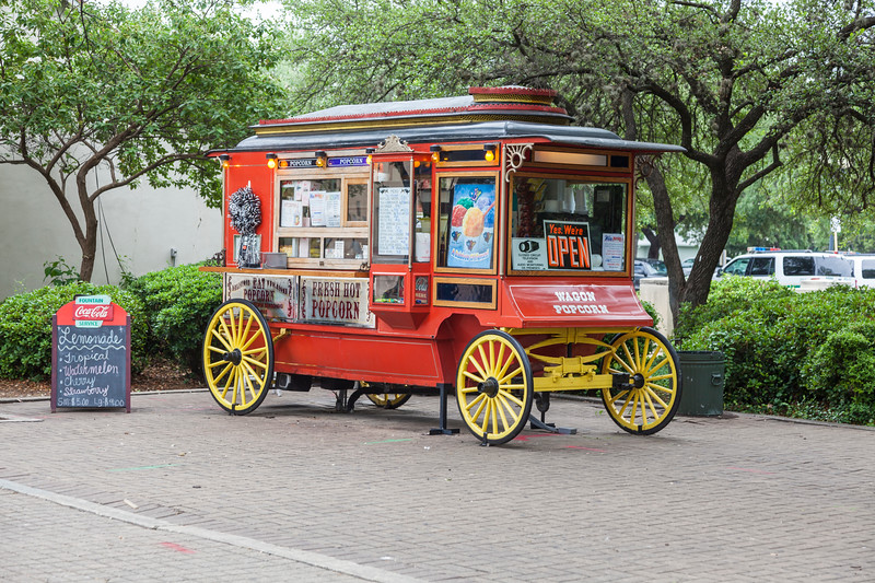 Popcorn vendor cart at HemisFair Park in San Antonio.