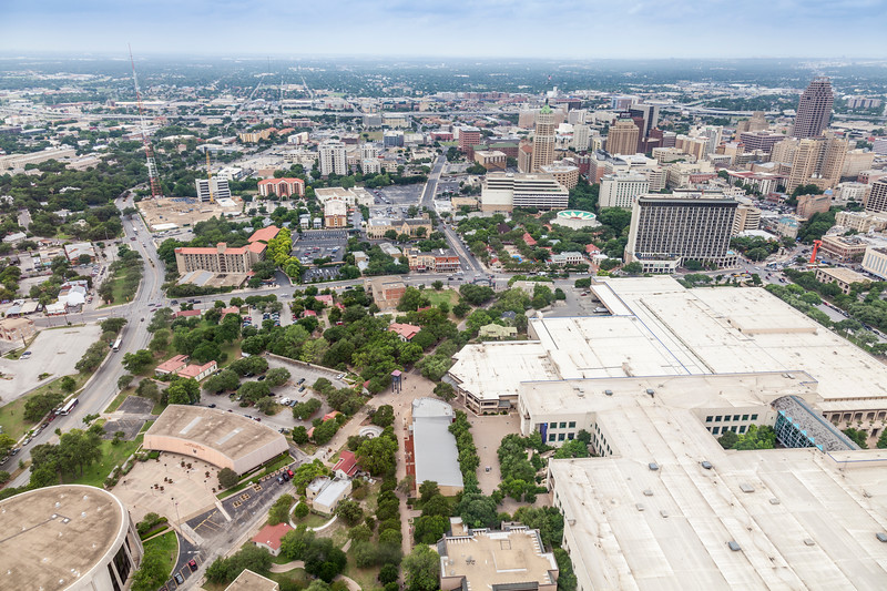 View from the Tower of the Americas in HemisFair Park in San Antonio, Texas.