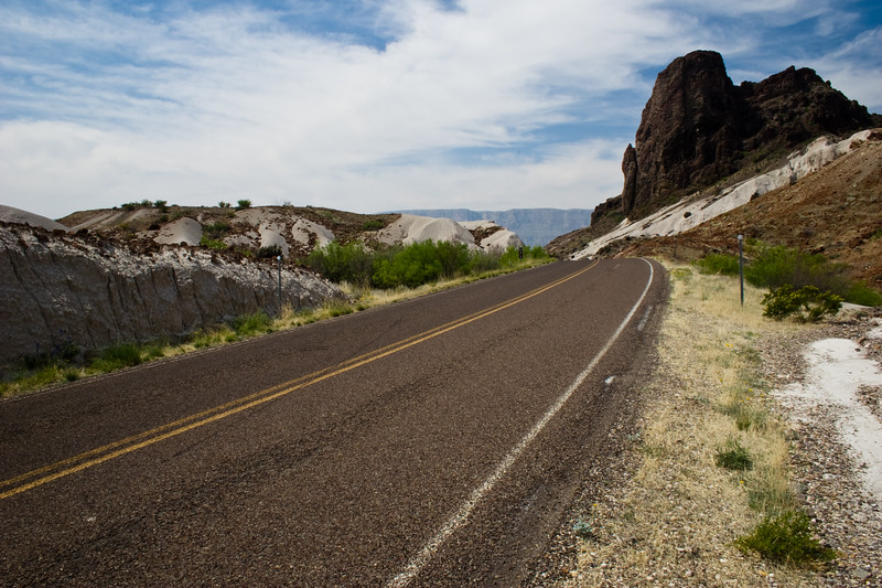 Road through Volcano Ash Mountains area in Big Bend National Park