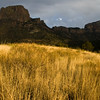 "Sunset light on grasslands and mountains in Chisos Basin, at ""The Window"" area in Big Bend National Park"