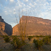 Mountains of Santa Elena Canyon on the Rio Grande River just after Sunrise, near Big Bend National Park