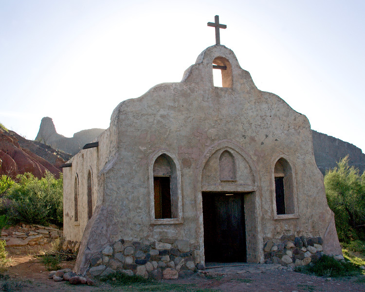 "Adobe Church in morning light,<br /> from ""Streets of Laredo"" movie set,<br /> on the Rio Grande River"