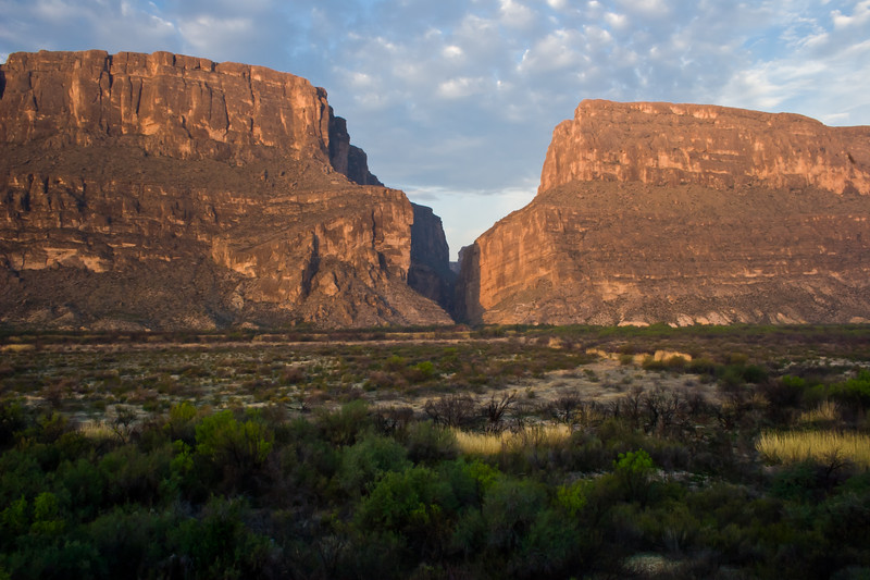 Santa Elena Canyon at Sunrise, on the Rio Grande River, in Big Bend National  Park in Texas.