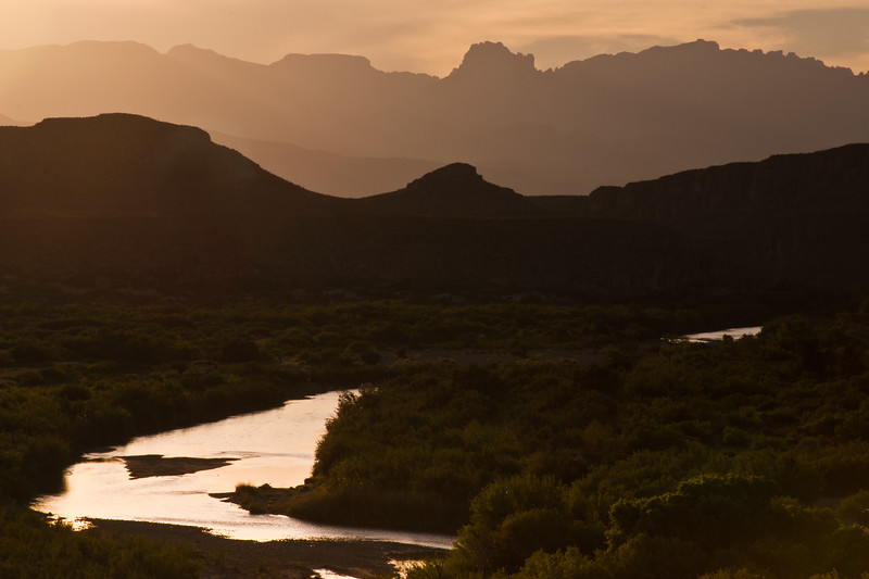 Rio Grande and Chisos Mountains at Sunset in Big Bend National Park in Texas.