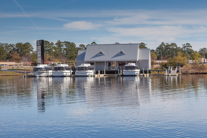 Boat dock on the Woodlands Waterway, for the Water Taxi transportation service.
