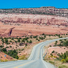 US 191 scenic highway just south of Moab, Utah, is known for colorful sandstone rock formations.