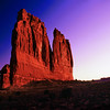 The Organ rock formation at sunrise in Arches National Park in Utah