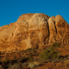 Sunset on formations in Arches National Park in Utah.