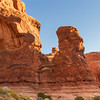 Sandstone rock formations in early morning light in Arches National Park in Utah.